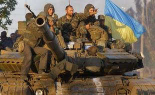 Des soldats ukrainiens à Mariupol, en Ukraine, le 5 septembre 2014.