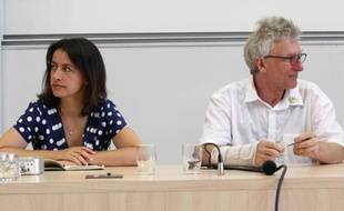 """Cecile Duflot and Jean-Baptiste Eyraud (DAL) pictured during the EELV Ecologists """"Summer Days"""" in Poitiers , FRANCE - 23/08/2012./Credit:ROBERT/APERCU"""