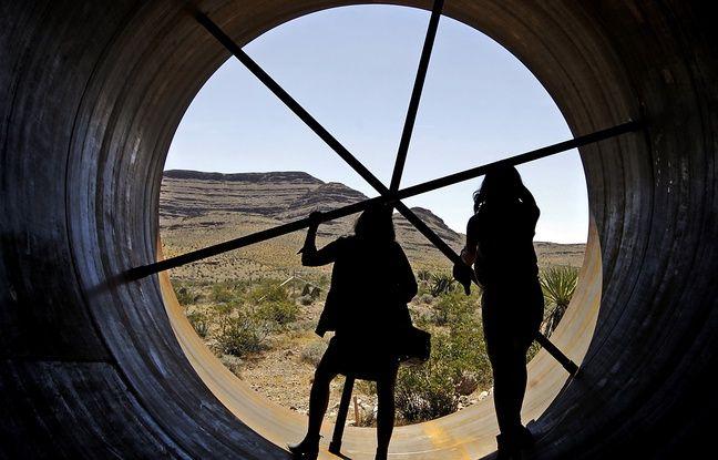L'intérieur du tube de l'Hyperloop, présenté près de Las Vegas, le 11 mai 2016.