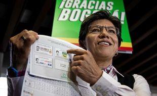 Claudia Lopez, à son bureau de vote de Bogota, le 27 octobre 2019.