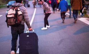 "Des migrants mineurs de Calais quittent la ""jungle"", le 27 octobre 2016."
