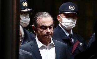 Tokyo, le 25 avril 2019. Carlos Ghosn quitte le centre de détention de Tokyo.