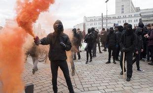 Des Black blocs, le 22 mars 2018 à Nantes.