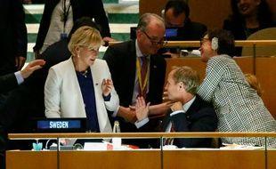 La ministre suédoise des Affaires étrangères après l'élection de son pays au Conseil de sécurité de l'ONU, le 28 juin 2016 à New York