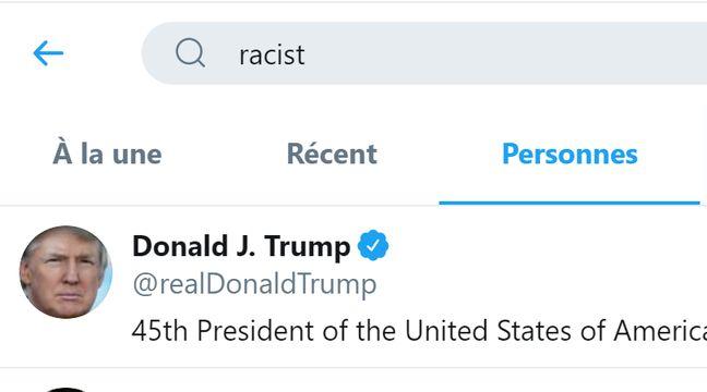 Trump premier résultat en cherchant « raciste » sur Twitter