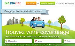 Capture d'écran du site Blablacar (voyage Montpellier-Millau).