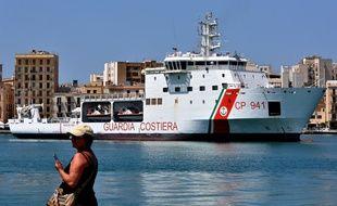 Le «Diciotti» amarré dans le port de Trapani, le 12 juillet 2018.