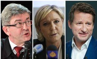 Jean-Luc Mélenchon, Marine Le Pen, et Yannick Jadot.