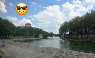 Rare spécimen de berges de Seine vides un samedi après-midi, le 30 juin 2018.