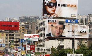 A Beyrouth, affiches électorales pour les élections législatives du 7 juin au Liban.