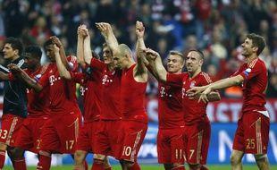 Les joueurs du Bayern Munich, lors de leur victoire contre le FC Barcelone à Munich en demi-finale aller de la Ligue des champions, le 23 avril 2013.
