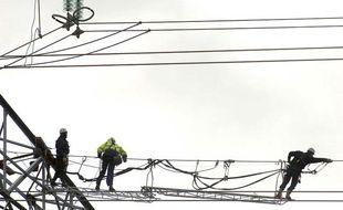 Des électriciens tentent de réparer les dégâts occasionnés sur des lignes à haute tension après le passage de la tempête, Maury, France, le 26 janvier 2009.