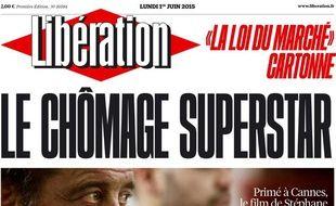 Extrait de la une du journal «Libération» du lundi 1er juin 2015.
