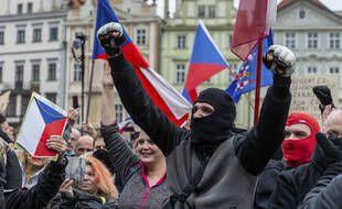 Manifestation à Prague, le 18 octobre 2020.