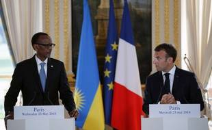 Paul Kagame et Emmanuel Macron, le 23 mai à l'Elysée.