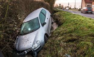Un accident le 29 janvier 2015 à Méteren (Nord-Pas-de-Calais).