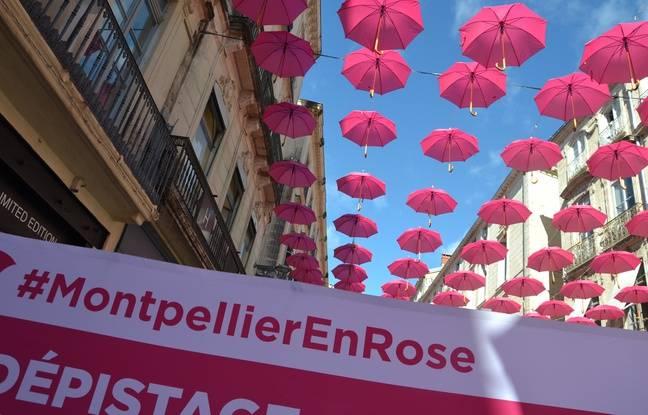 Les parapluies roses d'Octobre Rose, à Montpellier