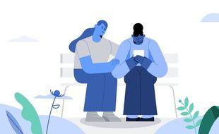 Image d'illustration de Facebook concernant le deuil.