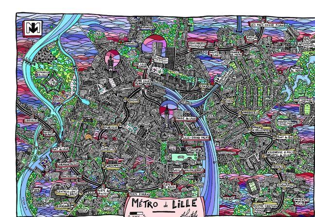 Le plan de la ville de Lille dessiné par Alcatela.