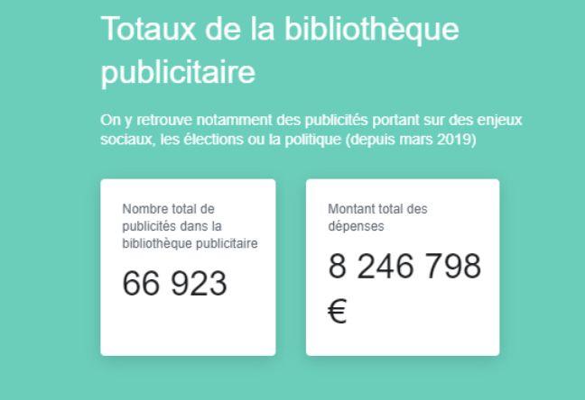 Bibliothèque publicitaire de Facebook.