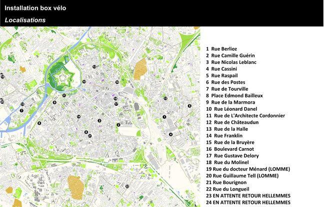 La carte d'implantation des box à vélos dans Lille
