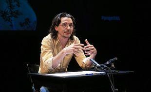 Stanislas Nordey, directeur du Théâtre national de Strasbourg, présente son projet pour l'institution le 24 mars 2015 à Strasbourg.