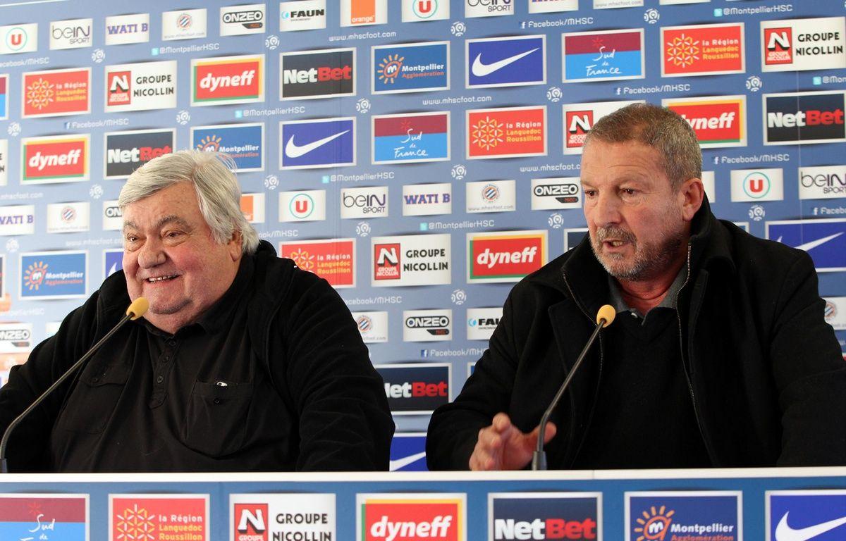 Loulou Nicollin et Rolland Courbis à Montpellier, en décembre 2013. – A. Robert / Aperçu / Sipa