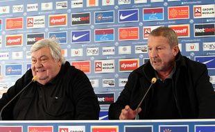 Loulou Nicollin et Rolland Courbis à Montpellier, en décembre 2013.