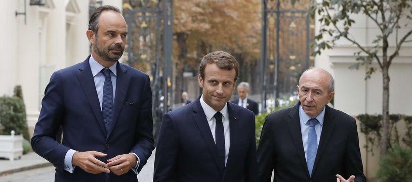 Le Premier ministre Edouard Philippe, le président de la République Emmanuel Macron et le ministre de l'Intérieur Gérard Collomb, le 6 septembre 2017 à Paris.