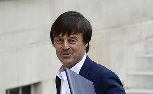Le nouveau ministre de la Transition écologique et solidaire, Nicolas Hulot lors de son arrivée au premier Conseil des ministres à l'Élysée, le 18 mai 2017.