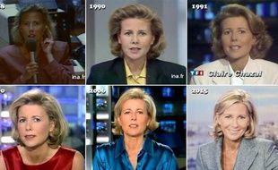 Montage d'images de Claire Chazal au cours des 24 ans à la présentation du JT de TF1