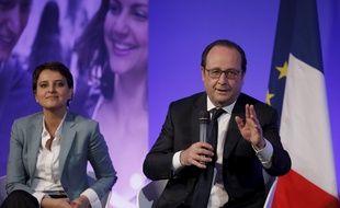 Intervention de Francois Hollande, président de la Republique. Avec Najat Vallaud Belkacem, ministre de l'education nationale au Palais Brongniart. Paris, FRANCE - 02/05/2016. Credit:Nicolas TAVERNIER-POOL/SIPA