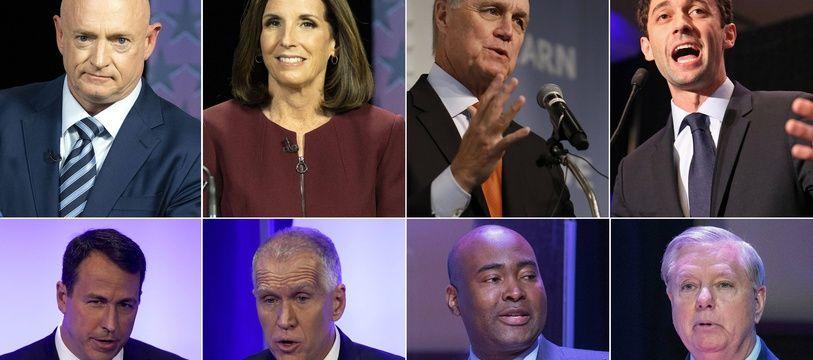 Les candidats au Sénat américain Mark Kelly, Martha McSally, David Perdue, Jon Ossoff, Cal Cunningham, Thom Tillis, Jaime Harrison et Lindsey Graham.