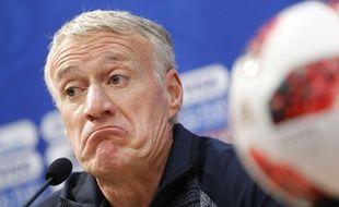 Didier Deschamps en conférence de presse à la veille de France-Uruguay en quart de finale de Coupe du monde, le 5 juillet 2018.