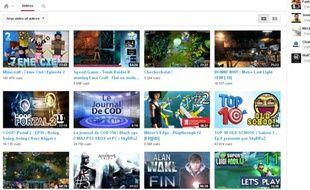 Du contenu jeu vidéo sur la plate-forme YouTube.