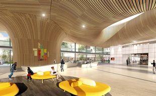 Le hall d'entrée principal du futur CHU de Nantes.