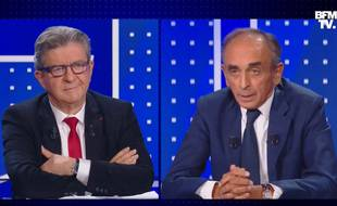 Jean-Luc Mélenchon et Eric Zemmour sur le plateau de BFMTV, le 23 septembre 2021.