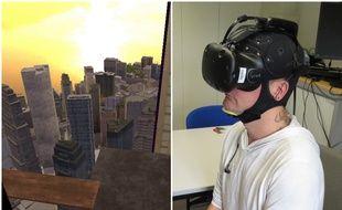 Les participants sont équipés d'un casque de réalité virtuelle et d'un bonnet de stimulation cérébrale