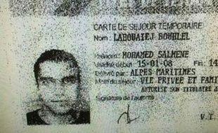 Une reproduction du permis de séjour de Mohamed Lahouaiej Bouhlel, fournie à l'AFP par la police, le 15 juillet 2016.