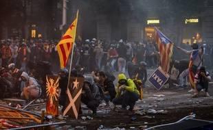 Violences dans les rues de Barcelone le 18 octobre 2019.