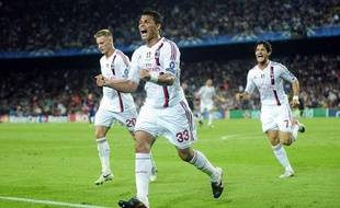Thiago Silva, après son but contre Barcelone en Ligue des Champions, au Camp Nou, le 13 septembre 2011.