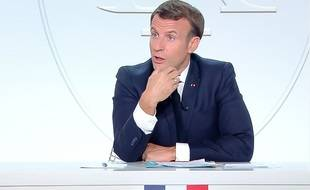 Emmanuel Macron lors de son interview du 14 octobre 2020
