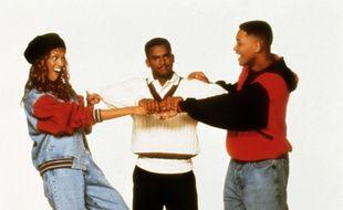 Alfonso Ribeiro (au c.), avec ses partenaires du «Prince de Bel Air» Tyra Banks et Will Smith, en 1996.