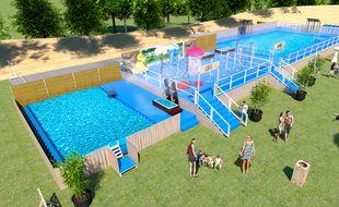 La ville de Lyon va monter une piscine éphémère dans l'enceinte du vélodrome du parc de la tête d'Or. Crédit :Weeloc City -