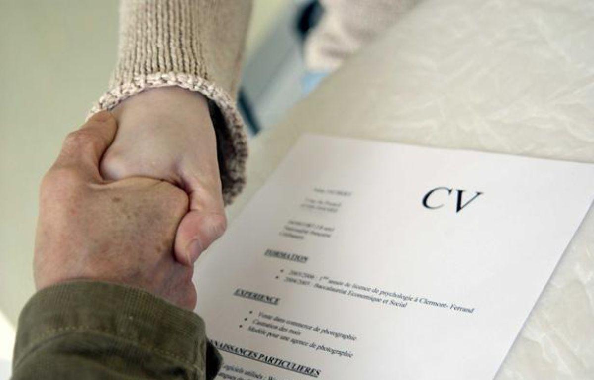 Curriculum vitae lors d'un entretien de recrutement. – JAUBERT/SIPA