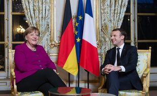 La chancelière allemande Angela Merkel et le président français Emmanuel Macron lors d'une rencontre à l'Elysée le 19 janvier 2018.