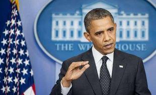 Barack Obama lors d'une conférence de presse à la Maison blanche à Washington, le 20 août 2012.