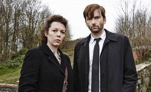 "Olivia Colman (D.S. Ellie Miller), David Tennant (D.I Alec Hardy) dans la série britannique ""Broadchurch"""