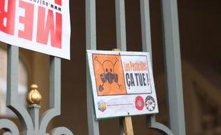Illustration de la lutte contre l'usage des pesticides ici lors d'une manifestation à Rennes.