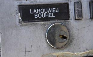 Nice (Alpes-Maritimes), le 15 juillet 2016. L'interphone de l'appartement de Mohamed Lahouaiej Bouhlel, auteur de l'attaque au camion sur la promenade des Anglais (le nom a été mal orthographié).